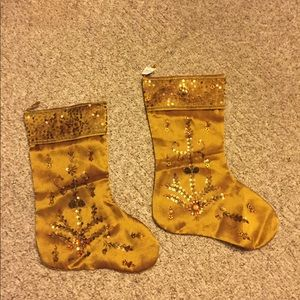 NWT 2 gold stocking with hanging loops sets